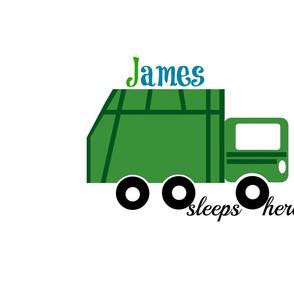 garbage truck green -sleep here-PERSONALIZED  James