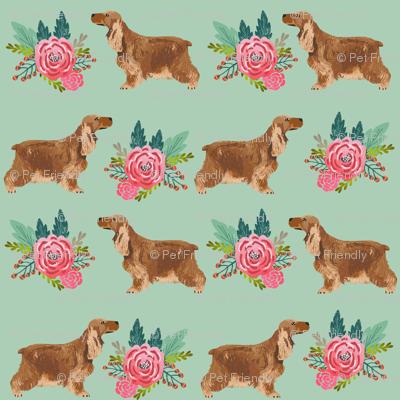 cocker spaniel floral bouquet fabric cocker spaniel dogs design - mint