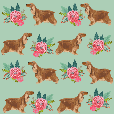 cocker spaniel floral bouquet fabric cocker spaniel dogs design - mint fabric by petfriendly on Spoonflower - custom fabric