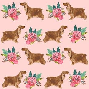 cocker spaniel floral bouquet fabric cocker spaniel dogs design - blossom pink