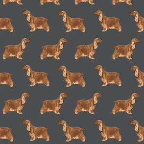 cocker spaniel dog fabric hunting dog pattern design - shadow grey