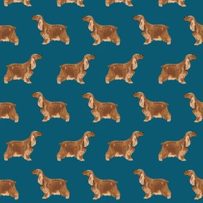cocker spaniel dog fabric hunting dog pattern design - sapphire