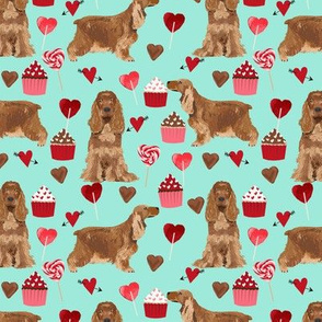cocker spaniel valentines love fabric - aqua