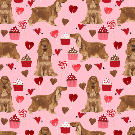 cocker spaniel valentines love fabric - blossom pink fabric by petfriendly on Spoonflower - custom fabric