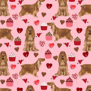 cocker spaniel valentines love fabric - blossom pink