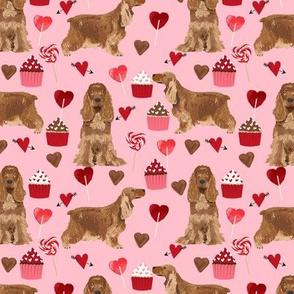 cocker spaniel valentines love fabric - blossom pink