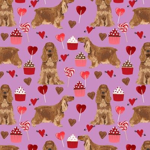 cocker spaniel valentines love fabric - purple