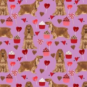 cocker spaniel valentines love fabric - purple