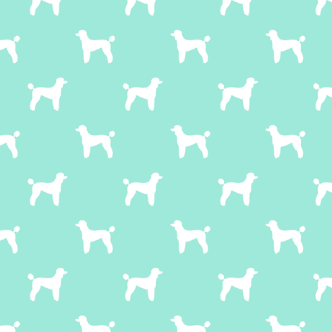 poodle silhouette fabric best dogs quilting fabric dog design - aqua fabric by petfriendly on Spoonflower - custom fabric