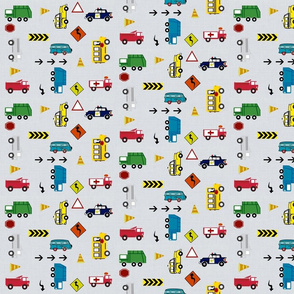 cars & trucks SMALL-7 multi-metro gray linen