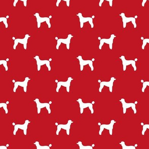 poodle silhouette fabric best dogs quilting fabric dog design - fire red