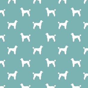 poodle silhouette fabric best dogs quilting fabric dog design - gulf blue