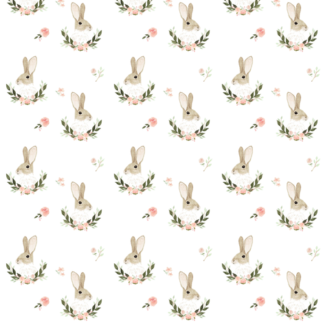 Whimsical rabbit small fabric by mintpeony on Spoonflower - custom fabric
