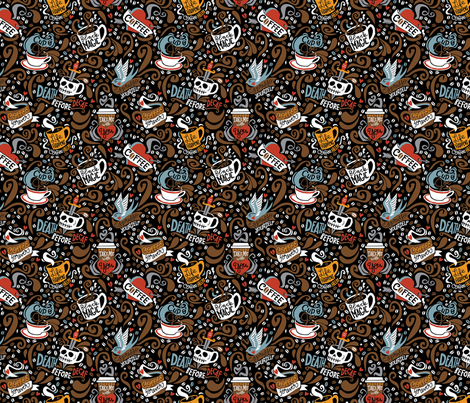 "Brewed & Tattooed Half size- 6"" repeat fabric by cynthiafrenette on Spoonflower - custom fabric"