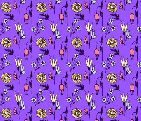 floral informal on grape fabric by sara_gerrard on Spoonflower - custom fabric