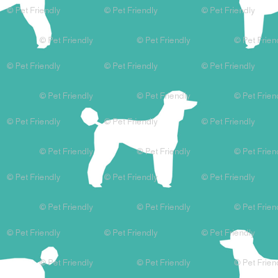 poodle silhouette fabric best dogs quilting fabric dog design - turquoise