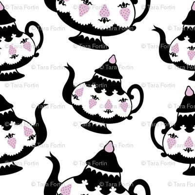 Strawberry Tea - black pot on white