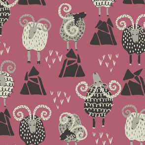 Mountain Sheep on Pink