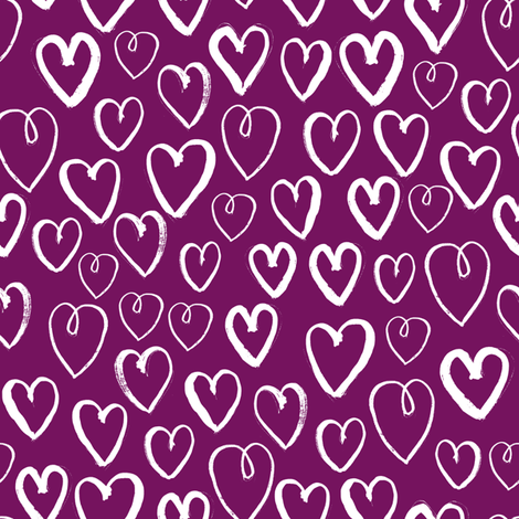 hearts // purple mauve dark purple hearts valentines love design fabric by andrea_lauren on Spoonflower - custom fabric
