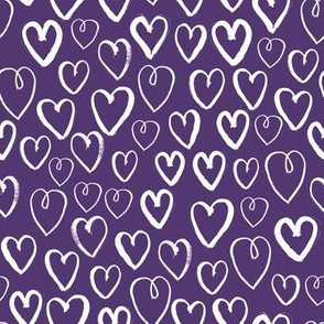 hearts // deep purple hearts heart love pattern fabric andrea lauren valentines day design
