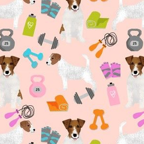 jack russell terrier workout fitness fabric dogs design - apricot