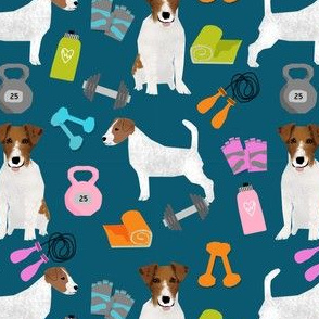 jack russell terrier workout fitness fabric dogs design - sapphire