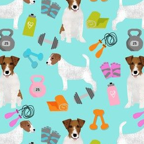 jack russell terrier workout fitness fabric dogs design - lite blue