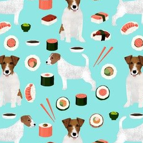 jack russell terrier sushi food design dog fabric - blue