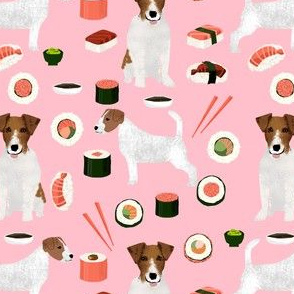 jack russell terrier sushi food design dog fabric - pink