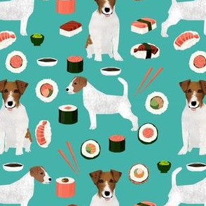 jack russell terrier sushi food design dog fabric - turquoise