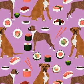boxer dog sushi themed fabric dogs pattern design - purple