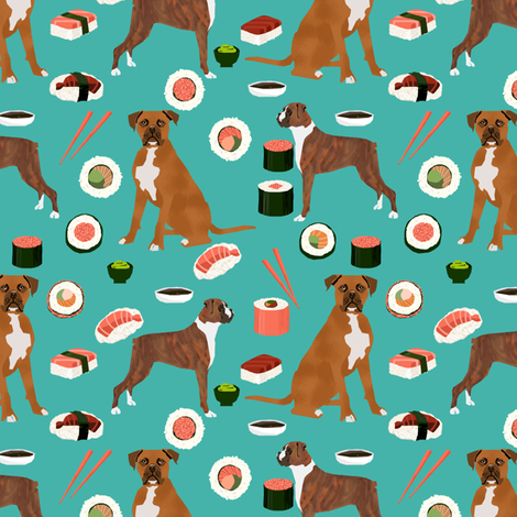 Boxer Dog Sushi Themed Fabric Dogs Pattern Design