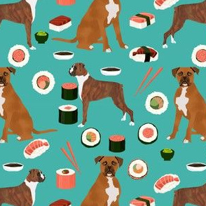 boxer dog sushi themed fabric dogs pattern design - turquoise