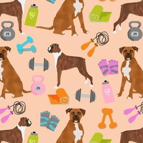 boxer dog fitness fabric design dog illustration pattern - apricot
