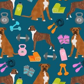 boxer dog fitness fabric design dog illustration pattern -sapphire