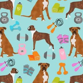 boxer dog fitness fabric design dog illustration pattern - lite blue