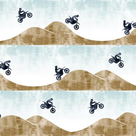 (small scale) motocross / dirt bike  || blue&tan fabric by littlearrowdesign on Spoonflower - custom fabric