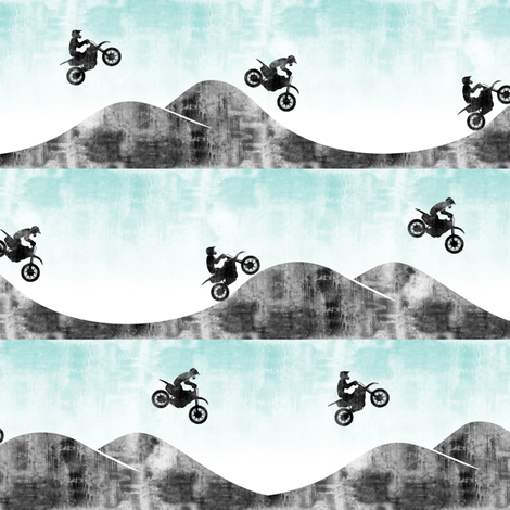 (small scale) motocross/dirtbike  || blue & grey fabric by littlearrowdesign on Spoonflower - custom fabric
