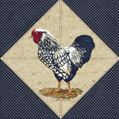 Silver Laced Wyandotte Rooster Cream Dots on Navy