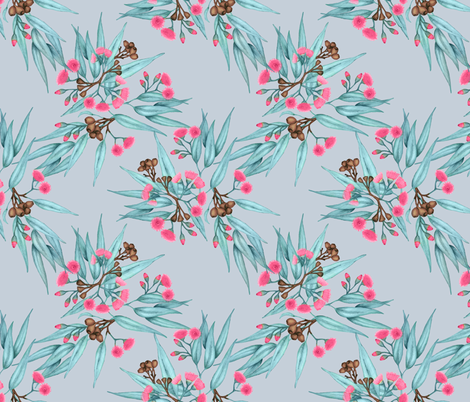 Gumnuts on Grey with Bright Pink Blossoms fabric by thistleandfox on Spoonflower - custom fabric