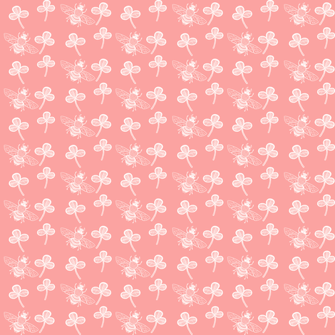 Bee & Clover on Coral Pink fabric by thistleandfox on Spoonflower - custom fabric