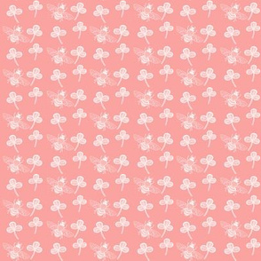 Bee & Clover on Coral Pink