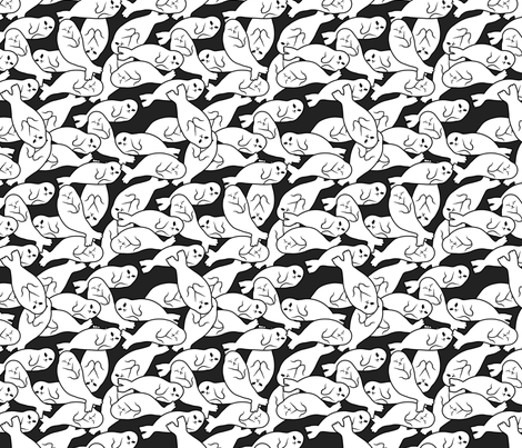 Baby Seals - black version fabric by blacklilypie on Spoonflower - custom fabric