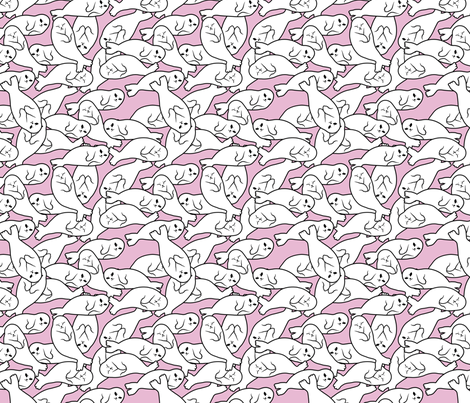 Baby Seals - Pink Version fabric by blacklilypie on Spoonflower - custom fabric