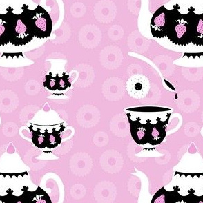 Strawberry Tea - Pink cookie background