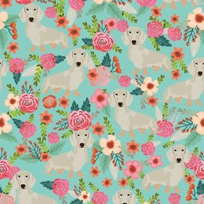 dachshund isabella fabric florals dog design - blue