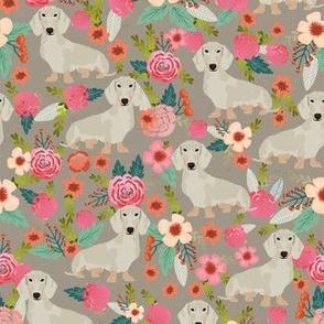 dachshund isabella fabric florals dog design - brown