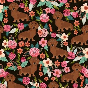dachshund red fabric florals dog design - black