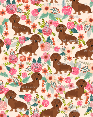 dachshund red fabric florals dog design - cream
