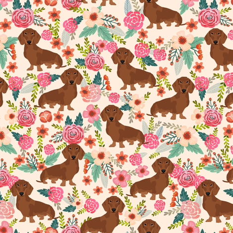 dachshund red fabric florals dog design - cream fabric by petfriendly on Spoonflower - custom fabric